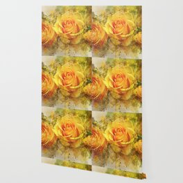 Watercolor Yellow Roses | High Quality On Stretched Canvas Wallpaper