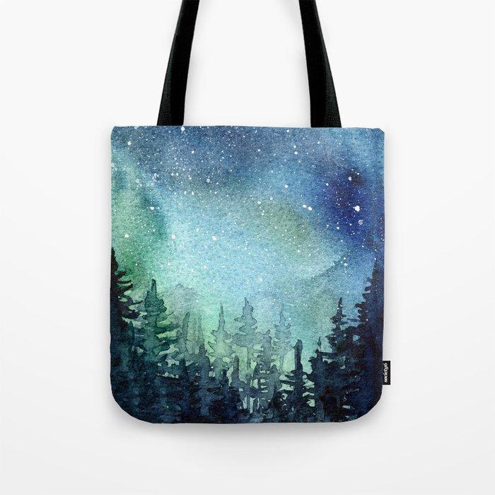 Galaxy Watercolor Aurora Borealis Painting Umhängetasche