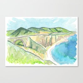 Big Sur Bixby Bridge Watercolor Canvas Print