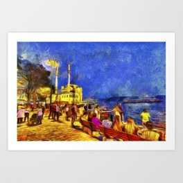 Istanbul At Night Van Gogh Art Print