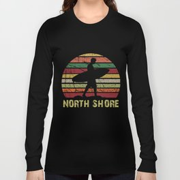 Vintag Sunset North Shore A Surfer With His Board Long Sleeve T-shirt