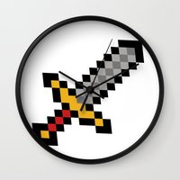sword Wall Clocks featuring Pixel Sword... by Totally Glitching