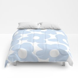 Large Baby Blue Retro Flowers White Background #decor #society6 #buyart Comforters