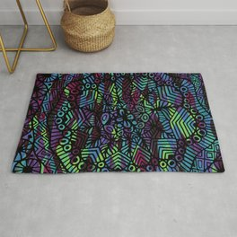 Purple and Green Doodle 14 Rug