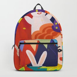 Happy Clown And Rabbit Backpack