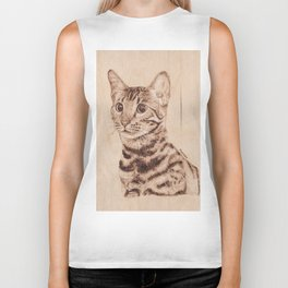 Bengal Cat Portrait - Drawing by Burning on Wood - Pyrography art Biker Tank