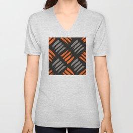 Red and Grey Brush Strokes Pattern Unisex V-Neck