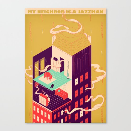 My neighbor is a jazzman Canvas Print