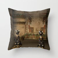 egypt Throw Pillows featuring Egypt temple  by nicky2342