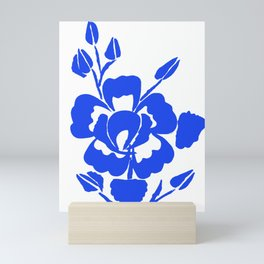 Silhouette Blue roses on white Mini Art Print