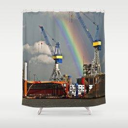 Rainbow over the port of HAMBURG Shower Curtain