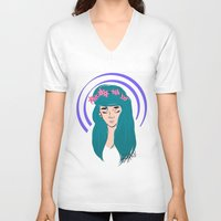 halo V-neck T-shirts featuring halo girl by Amina Soneviseth