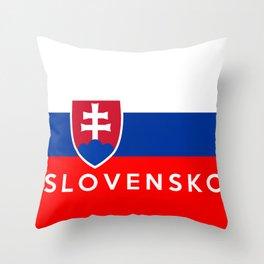 slovakia country flag Slovensko name text Throw Pillow