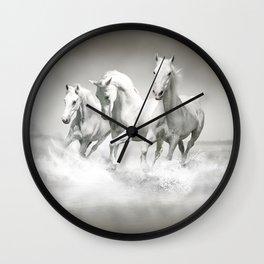 Wild White Horses Wall Clock