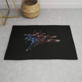 US Military Fighter Attack Jets with American Flag Overlay Rug