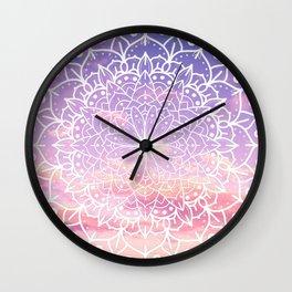 WHITE SUNSET MANDALA Wall Clock