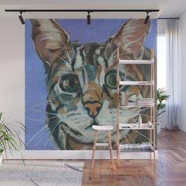 Green Eyed Cat Portrait Wall Mural