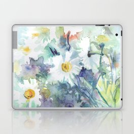 watercolor drawing - white daisies, beautiful bouquet, painting Laptop & iPad Skin