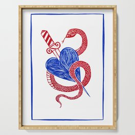 Evil Twin - Red and Blue heart dagger snake Serving Tray
