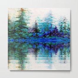 SCENIC BLUE MOUNTAIN PINES LAKE REFLECTION Metal Print