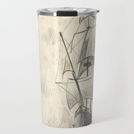 Vintage hand drawn galleon background Travel Mug