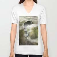 arya V-neck T-shirts featuring Man floating by ARTiSTiC TENDENCiES