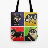 shiba inu Tote Bags featuring Shiba Inu Pop Art by Sasha Rad