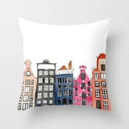 Amsterdam Canal Houses Throw Pillow