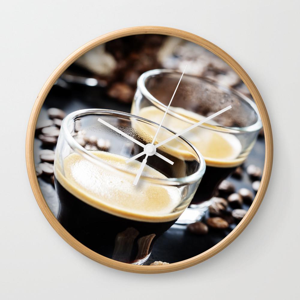 Cups Of Espresso On Dark Rustic Background Wall Clock by Klenova CLK7769412