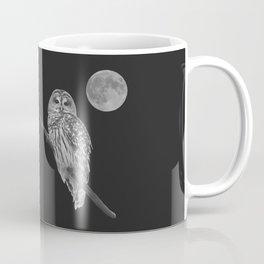 Owl, See the Moon (bw, sq) Coffee Mug