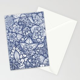 Navy and White Zentangle Stationery Cards
