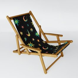 Colorful Watercolor Stars and Moons Pattern Sling Chair
