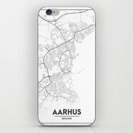 Minimal City Maps - Map Of Aarhus, Denmark. iPhone Skin