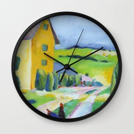Yellow Farmhouse with Rooster Wall Clock