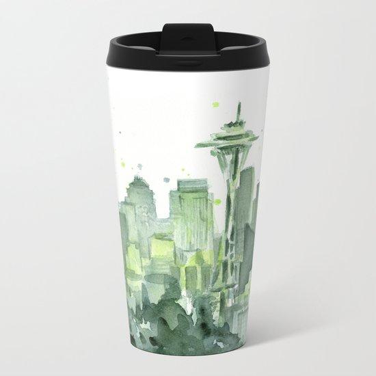 Seattle Watercolor Painting Metal Travel Mug