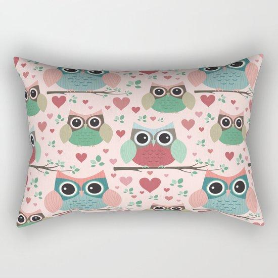 Owls in Love Pattern Rectangular Pillow