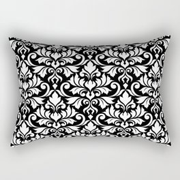 Flourish Damask Big Ptn White on Black Rectangular Pillow