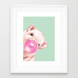 Bubble Gum Sneaky Baby Pig in Green Framed Art Print