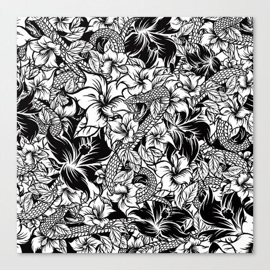 Snaky Fleur, Black 'n White Canvas Print