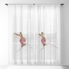 Woman skier skiing jumping 03 in watercolor Sheer Curtain