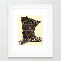 minnesota Framed Art Prints featuring Minnesota! by Colora + Co.