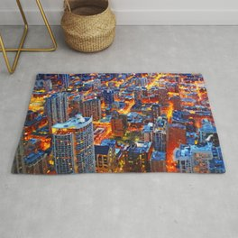 Chicago Sunset- Mixed Media Rug