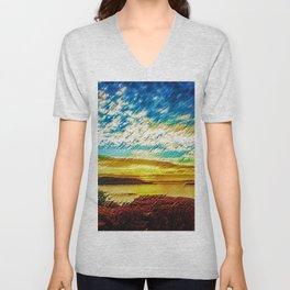 Gold & Blue Sunset, Scituate Reservoir Landscape by Jeanpaul Ferro Unisex V-Neck