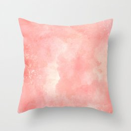 Coral pink watercolor abstract brushstrokes pattern Throw Pillow