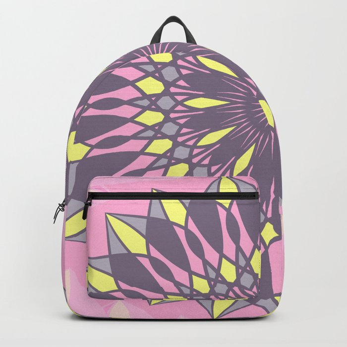 Grey and yellow mandala Backpack