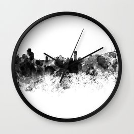 Seoul skyline in black watercolor Wall Clock