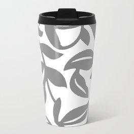 LEAF PALM SWIRL IN GRAY AND WHITE Metal Travel Mug