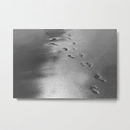 Steps on the wet sands, beach, nautical, holiday Metal Print
