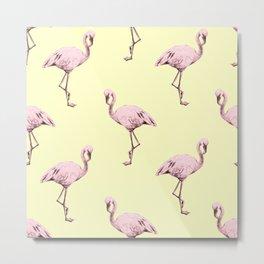 Flamingos in Flamingo Pink on Pale Yellow Metal Print