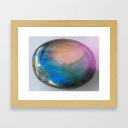 Rainbow Labradorite Crystal Framed Art Print